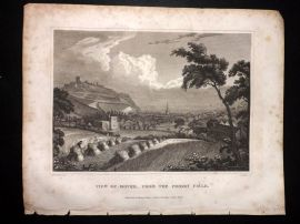 Clarke C1820 Antique Print. View of Dover from the Priory Field. Kent